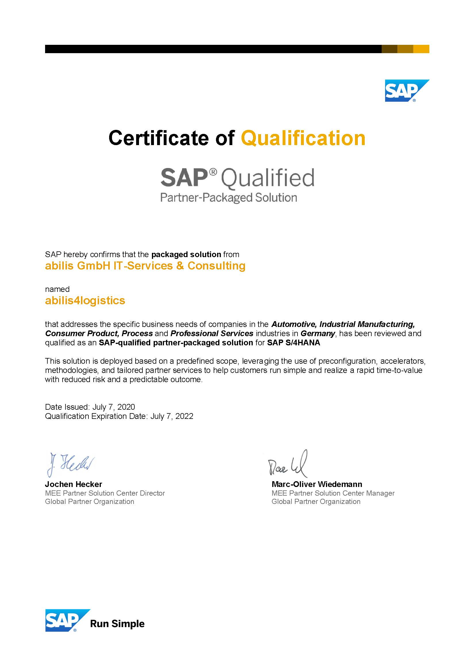 Zertifikat S/4HANA Branchenlösung abilis4logistics