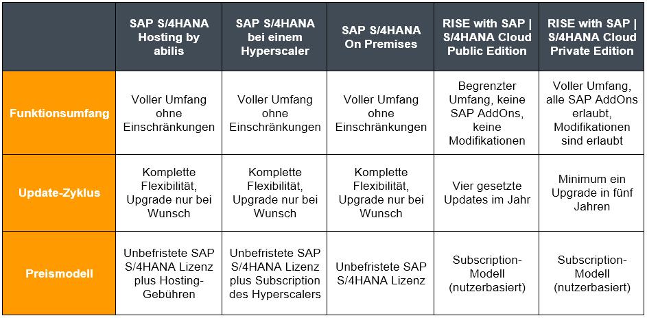 SAP S/4HANA Optionen im Vergleich