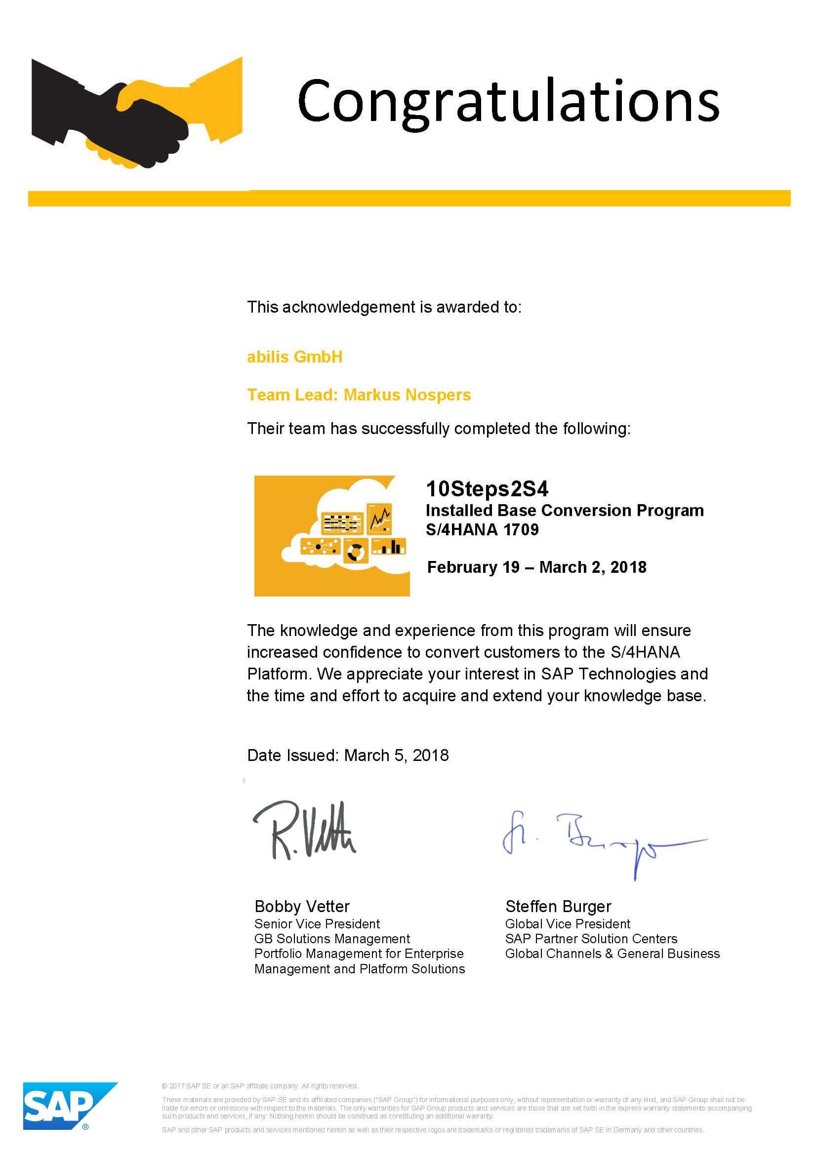 abilis GmbH Zertifikat 10Steps2S4